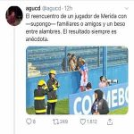 Estudiantes de Mérida player meets relatives, who were on the away end, for the first time in 10 years at last night's Copa Libertadores game against Nacional in Montevideo