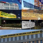 Supporter groups of Dutch clubs turn their support towards hospital staff and medical workers with banners around hospitals
