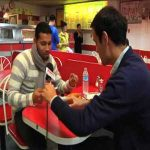 Andre Santos is introduced to london fish and chips