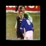 Paul Gascoigne booked by referee for booking referee