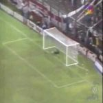 "On this day in 1996, Jose Luis Chilavert did this epic free kick from 60 metres against ""Mono"" Burgos in the match between Vélez Sarsfield and River Plate"