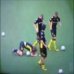 World Cup winner Kevin Großkreutz gets a ball to the face during warmup
