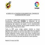 "The Spanish Football Podcast: LaLiga/RFEF statement agreeing ""the suspension of professional football competitions until the authorities believe they can restart without any risk to health"""