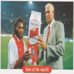 Nordin Wooter getting awarded a big carton of milk for being MOTM