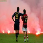 On this day 15 years ago, one of the most iconic photos in football was captured: Marco Materazzi and Rui Costa watching the fireworks and flares land onto the San Siro during the CL Quarter Finals.