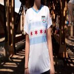 Chicago Red Stars [NWSL] announce new kit. The names of the 77 Chicago neighborhoods make up the Chicago flag on the front of the kit