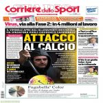 Corriere dello Sport's first page of today depicts Italian Sports Minister Vincenzo Spadafora trying to stab a football: 'Attack on football'