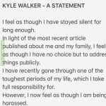 Kyle Walker's post about breaking quarantine on Instagram