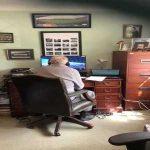 A glimpse of Commentator Ian Darke's at-home desk on the return of Bundesliga