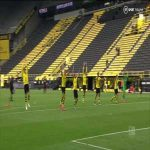 The Dortmund players continue to do their traditional thank you to the Yellow Wall