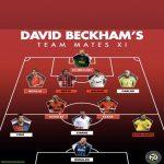 """David Beckham chooses his """"teammates XI"""" : Schmeichel - Neville Nesta Maldini Roberto Carlos - Scholes Keane - Figo Zidane Ronaldinho - R9"""