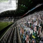 Borussia Monchengladbach are playing their first home game in front of 13,000 cardboard cut-out fans.