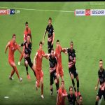 4 Düsseldorf Players grabbing shirts of Bayern Players during corner kick