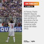 On this day in 2009, Paolo Maldini played in Florence the last match of his career (Fiorentina 0-2 Milan); he is the player with the most apps in AC Milan's history (902).