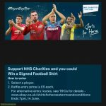 Ebay is currently part of a Shirts for Heroes fundraising campaign. A 5 pound donation enters you into a draw. Its for a good cause (NHS) and could give you the chance to win a signed shirt from your favourite players.