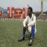 Pelé takes a break during the filming of Escape to Victory – in the stadium of a Jewish team filled with Nazi flags in a Communist country in 1981 [600x900] (from r/HistoryPorn)