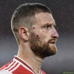 Mustafi's face after Vardy's challenge.