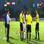 Player got choked by coach & two other players from the opponent but he got a 2nd yellow card (due to kicking the ball) but other team did not have any cards