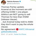 Arsenal will not be meeting Thomas Parteys buy out clause.