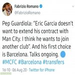 Eric Garcia wants to leave City and his first choice is Barcelona. [Fabrizio Romano]