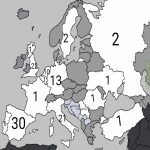 Countries in Europe and how many european cups they won (both UCL and UEL) (Grey = no cups won)