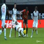 Martin Terrier (Stade Rennais) straight red ccard for challenge on Gaëtan Laborde (Montpellier HSC)