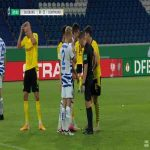 Dominic Volkmer (Duisburg) straight red card against Dortmund 38'