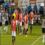 Toumani Diagouraga (Morecambe) straight red card against Newcastle 33'