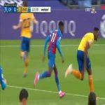 Zaha yellow card vs. Everton