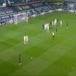 De Bruyne freekick attempt vs Leeds