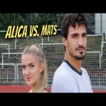 Soccer world champion Mats Hummels runs 400m against the sprinter Alica Schmidt