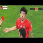 CSL Final - VAR overturns penalty, awards freekick and red card to He Chao 45+1' - Guangzhou Evergrande 0 - 0 Jiangasu Suning