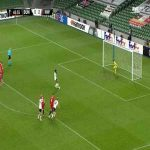Nathan Oduwa (Dundalk) penalty miss against Rapid Wien 49'