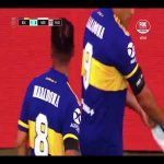 After scoring, Boca Juniors players pay their respects to Dalma, Maradona's daughter