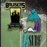 "Socker Slam NY Bruisers v. LA Surf- An insane league that was galaxy brained by TV exexs. Fusion of wrestling and soccer that had bizarre rules like 2 balls can be played at once, players can punch each other, and players can get a ""brown"" card"