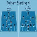 Fulhams starting line up in Gameweek 1 vs Gameweek 10. 9 changes.
