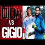A bit of Milan's past versus its present: Dida puts Gigio Donnarumma to a brief test during training (from the club's YouTube channel)