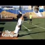 Nader Mohammadi scores with a somersault throw for Paykan in the Persian Pro League