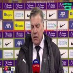"""Allardyce who has not lost in his last four visits to Anfield: """"It's all about staying in the ame when you come here... I don't know them (West Brom players) that well, but I saw a lot of guts."""" 