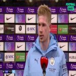 "Kevin De Bruyne on playing as a striker: ""It was a little bizarre at the beginning... The coach asked me to do this job so I tried to do it as best as possible."" 
