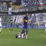Frank Fabra (Boca Juniors) straight red card against Santos 56'