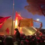 AS Roma fans greet the team prior to the Derby Della Capitale
