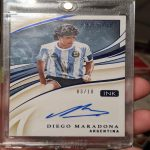 My friend just pulled this Diego Maradona signature card from his second ever Panini Immaculate Collection box, we still can't believe it