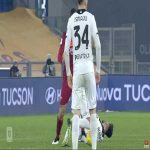 Gianluca Mancini (Roma) second yellow card and Pau Lopez (Roma) straight red card Spezia 92'