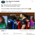Australia's Fox Sports uses monkey emoji in Lukaku post (Source @RealALM)
