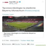 """Rainbow ideology on Bayern's Munchen stadium #youknowmore"" - Polish national TV, funded by our taxes"