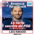 Messi on the cover of France Football in a PSG kit