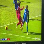 Mohamed Salah penalty shout vs Leicester 10'