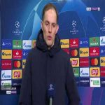 "Tuchel: ""We wanted to dominate in the opponent's half, not make mistakes early on the pitch and take the risk in the last 20 meters. No shots on target against us. But it's half time, we know that."" 