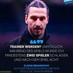 Zlatan [Ibrahimovic] about becoming a coach: 'Impossible. During the game I would punch at least two players and after the game eight.'
